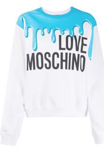 Love Moschino Suéter Com Estampa De Logo - Branco