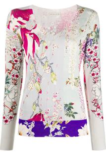 Etro Blusa De Tricô Com Estampa Floral - Neutro