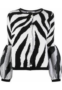 Ami Amalia Cardigan De Lã Merino E Padronagem De Zebra - Preto