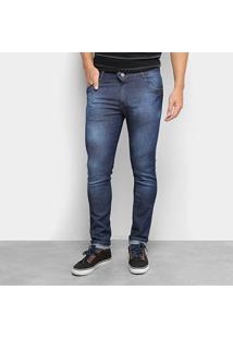 Calça Jeans Skinny Bnb Estonada Cintura Média Masculina - Masculino-Azul Escuro