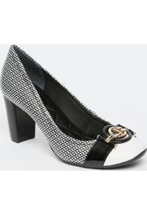 Sapato Tradicional Em Couro Com Fivela- Branco & Preto
