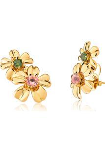 Brinco De Ouro 18K Ear Cuff Flor Com Gema Turmalina Rosa E Turmalina Verde-Coleção Jardim Secreto