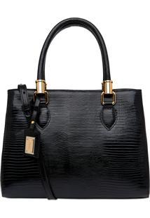 Bolsa Corello Shoulder Bag Lezard Gold Couro Preto