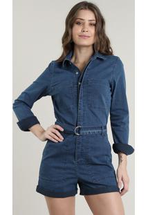 Macaquinho Jeans Feminino Com Bolsos E Cinto Manga Longa Azul Médio