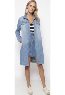 Jaqueta Jeans Alongada- Azuleva