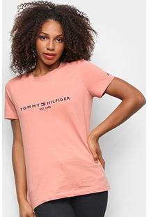 Camiseta Tommy Hilfiger Básica Logo 1985 Feminina - Feminino-Rosa