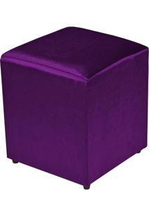 Puff Quadrado Decorativo Tecido Roxo Brilho - Lyam Decor