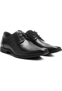 Sapato Social Couro Ferracini Recortes - Masculino-Preto