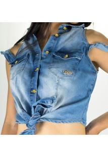 Blusa Cropped Sol Jeans De Amarrar E Botões Com Lycra - Feminino-Azul