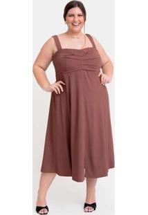 Vestido Midi Almaria Plus Size Tal Qual Pregas Fro