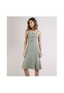 Vestido Feminino Midi Com Botões Alça Média Verde Médio