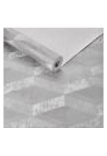 Papel De Parede Importado Geometrico Texturizado Prata 3D