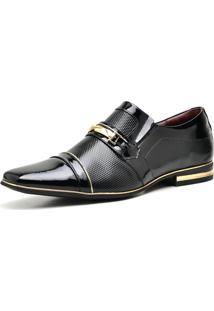 Sapato Social Verniz Gofer 12263L Preto E Dourado