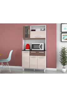 Cozinha Compacta 5 Portas Ellen Amêndoa/Capuccino - Lc Móveis