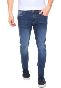 Calça Jeans Mr Kitsch Slim Estonada Azul