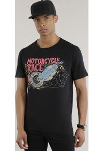 """Camiseta """"Motorcycle Race"""" Preta"""