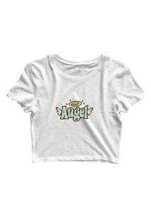 Blusa Blusinha Cropped Tshirt Camiseta Feminina Angel Branco