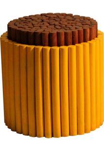 Puff Redondo De Fibra Natural Lola Amarelo