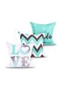 Kit Capa Almofada Decorativa Love Estampada Tiffany Kit Com 3 Unidades 45Cm X 45Cm Com Zíper