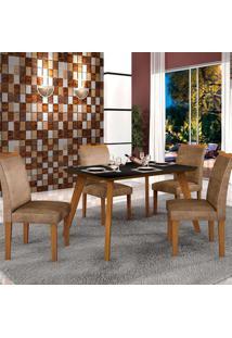 Mesa De Jantar Lavínia 1,20M Com Vidro Preto + 4 Cadeiras Pampulha Animale Capuccino - Imbuia Mel