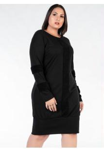 Vestido Plus Size Preto Com Pelo Frente E Mangas
