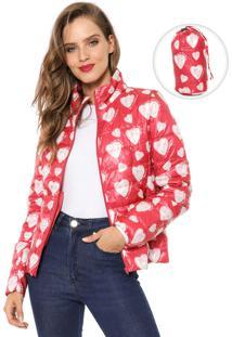 Jaqueta Puffer Desigual Estampada Vermelha