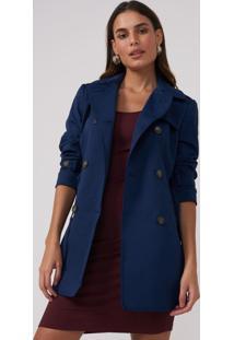 Trench Amaro Coat London Breeze Azul Escuro - Azul - Feminino - Dafiti