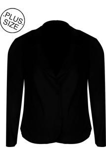 Blazer Linda D Bengaline Com Bolsos - Plus Size (H3149) Preto