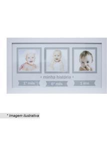 Painel Baby Decor Três Fotos- Branco & Cinza- 24X44Ckapos