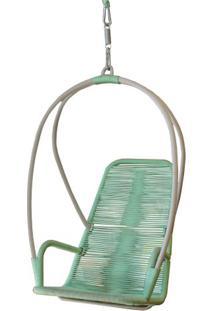 Poltrona De Balanco Paris Estrutura Aluminio Revestida Em Corda Cor Verde Agua - 51892 - Sun House