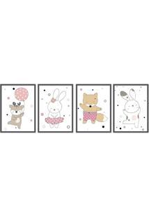 Quadro 60X160Cm Infantil Animais Felizes Moldura Preta Sem Vidro Decorativo - Multicolorido - Dafiti