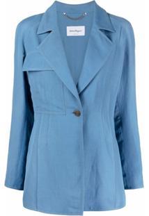 Salvatore Ferragamo Blazer Com Abotoamento Simples - Azul
