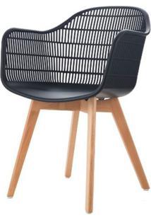 Cadeira Com Bracos Angelita Preta Pes Madeira - 50049 - Sun House