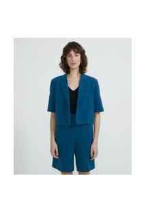 Blazer Manga Curta Cropped Alfaiataria | Cortelle | Azul | 40