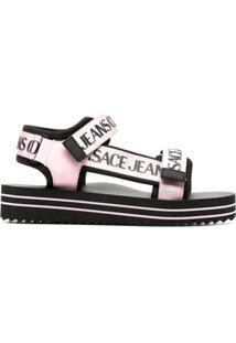Versace Jeans Couture Sandália Com Logo E Tira Dupla - Preto