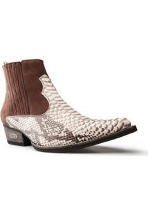 Bota Texana Country Capelli Boots Anaconda Em Couro Cano Curto Fechamento Em Elástico Masculina - Masculino