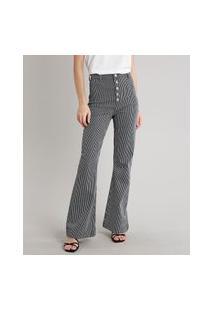 Calça Jeans Feminina Mindset Flare Listrada Preta