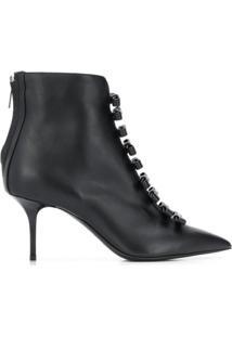 Msgm Ankle Boot Com Laços E Logo - Preto