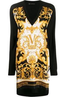 Versace Vestido Com Estampa Barroca - Preto