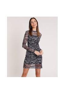 Vestido Feminino Em Tule Com Estampa Animal Print De Zebra Manga Longa Gola Alta Preto