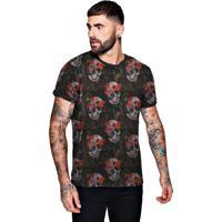 2982ce521b Camiseta Di Nuevo Florida Com Caveiras Floral Skull Preta