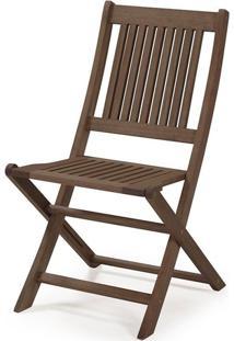 Cadeira Dobrável Sem Braços Madeira Eucalipto Nogueira