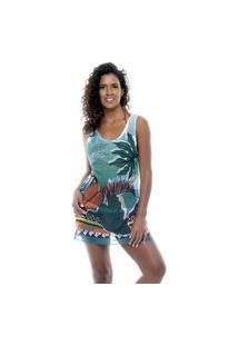 Blusa 101 Resort Wear Tunica Regata Crepe Estampada Folhas Verdes Multicolorido