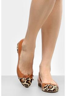Sapatilha Couro Shoestock Biqueira Onça - Feminino