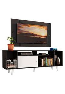 Rack Madesa Cancun E Painel Para Tv Até 58 Polegadas Com Pés - Preto/Branco 7777 Preto
