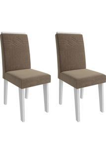 Conjunto Com 2 Cadeiras De Jantar Taís I Suede Branco E Pluma