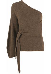 Nanushka Blusa Ombro Único De Tricô - Marrom