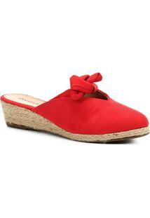 Mule Anabela Shoestock Laço Feminina - Feminino-Vermelho