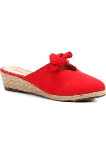 Tamanco Anabela Shoestock Laço Feminino - Feminino-Vermelho