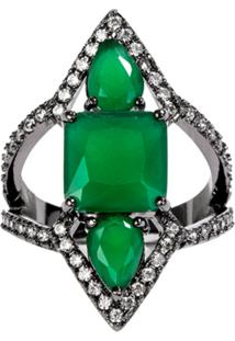 Anel Prin The Ring Boutique Pedras Cristais Verde Esmeralda Ródio Negro